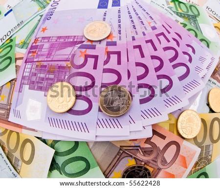Many Euro banknotes of the European Union. - stock photo