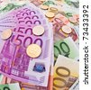 Many Euro banknotes of the European Union. Special perspective - stock photo