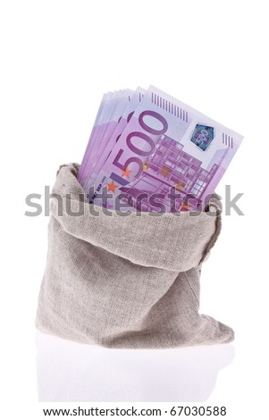 Many Euro banknotes of the European Union. State budget and debt - stock photo