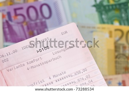 Many Euro bills with savings account. Password in the savings account - stock photo