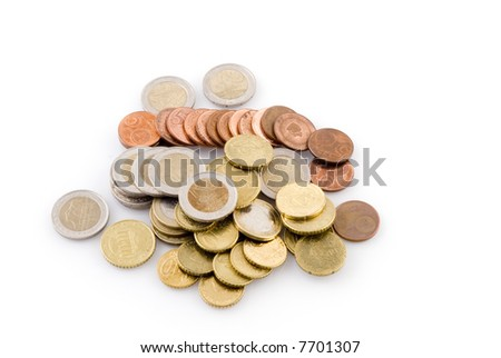 many Euro coins together