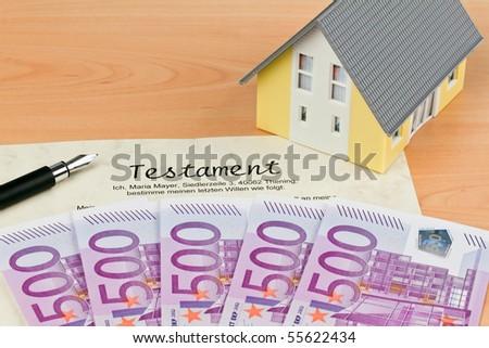Many Euro notes and wills - stock photo