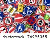 Many european traffic signs mixed together - stock vector