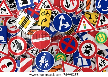 Many european traffic signs mixed together - stock photo