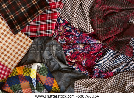 Many Fabrics Of Different Types. View From Above. Fabrics In A Cage, With