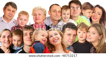 many faces family with children, collage - stock photo
