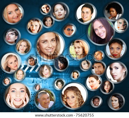 many faces of business colleagues, friends and people of all ages and races as a social network over a complex digital background.