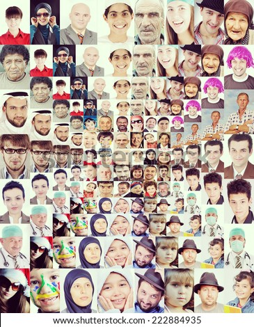 Many faces wall composition - stock photo