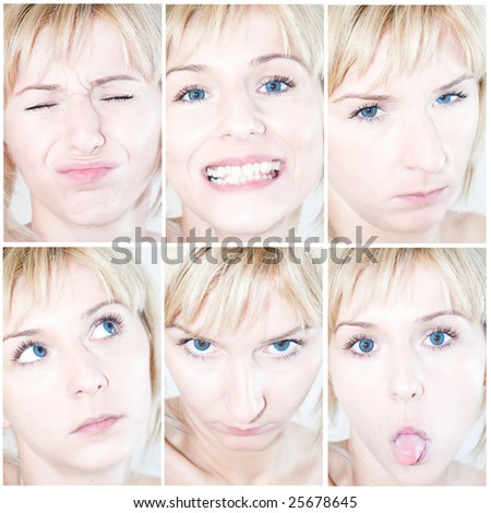 Many faces with different expressions - stock photo