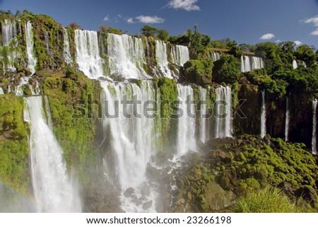 Many falls at Iguazu - stock photo