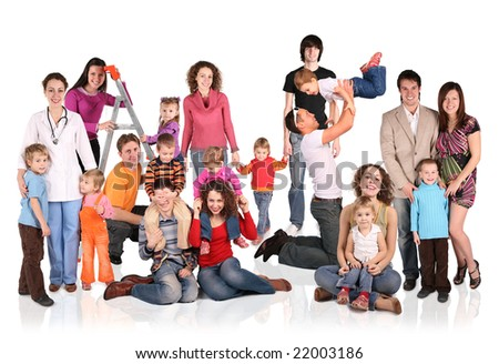 many families with children group isolated collage - stock photo