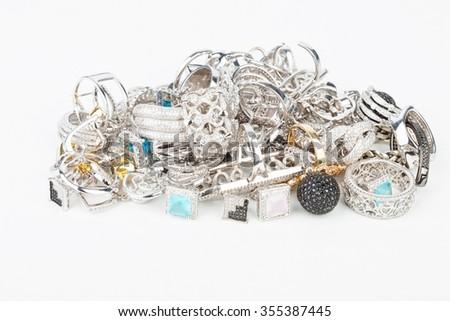 Many fashionable women's jewelry -  - stock photo