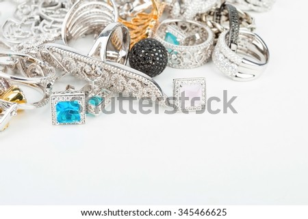 Many fashionable women's jewelry - Stock Image macro.