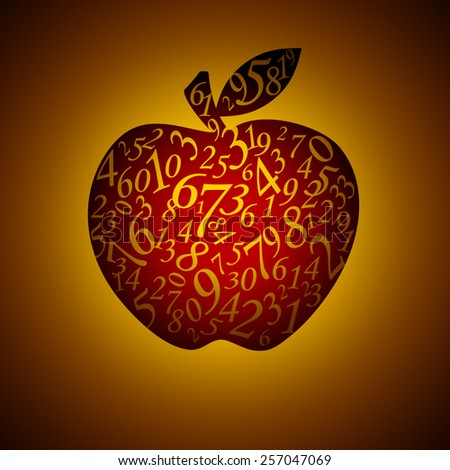 Many figures in the form of an apple. Artistic dark background. - stock photo