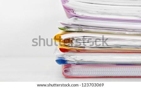 Many files on a desk - stock photo