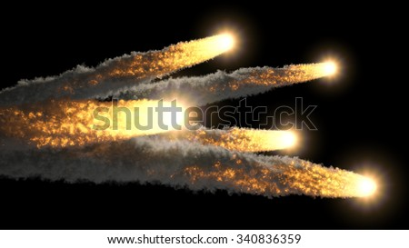 Many fireballs - stock photo