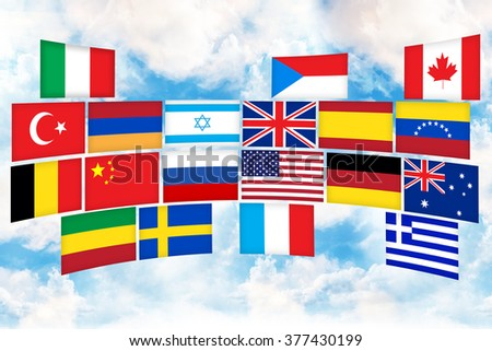 Many flags of different countries