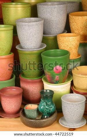 many flowerpots - stock photo