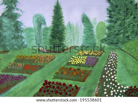 Many flowers are shown in this watercolor painting view of the Portland, Oregon rose gardens.  - stock photo