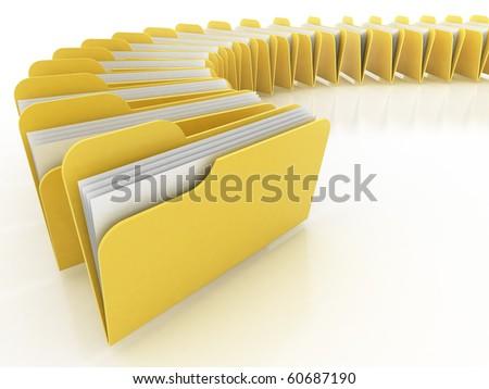 many folders on the white background - stock photo