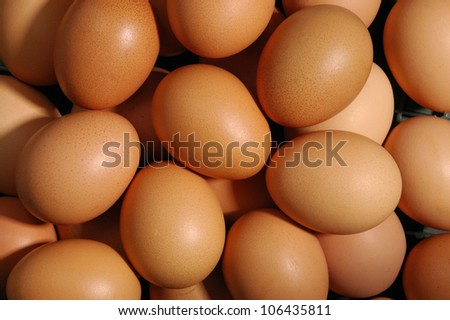 many fresh brown eggs - stock photo
