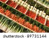 many fresh, different types of vegetables on market - stock photo
