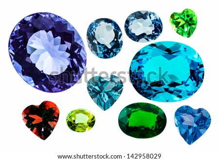 many gems on white background isolated by using clipping path - stock photo