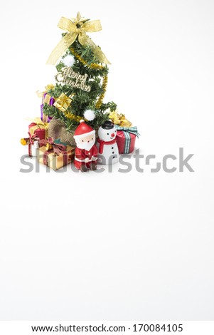 Many gift box of christmas and christmas tree - stock photo