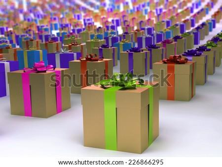 many gift boxes  - stock photo