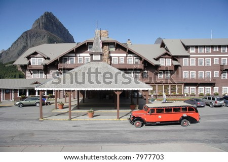 Many Glacier Lodge, Glacier National Park - stock photo
