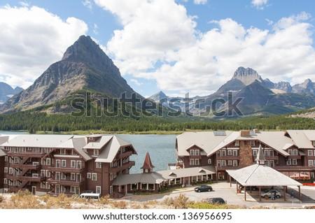 Many Glaciers Hotel in Glacier National Park - stock photo