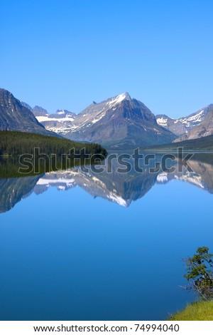 Many Glaciers scenic area in Glacier national park - stock photo