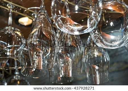 Many glasses in the bar close-up shot - stock photo
