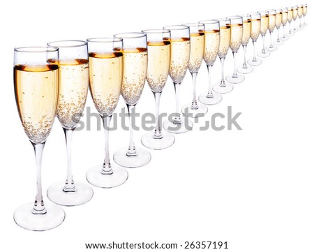 Many glasses of champagne in a line,isolated on white - stock photo