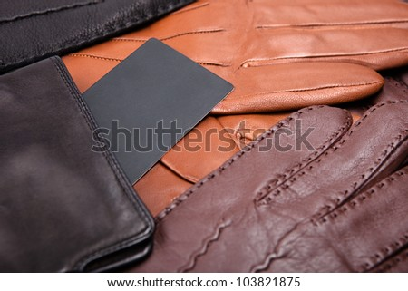 many gloves close up with label - stock photo