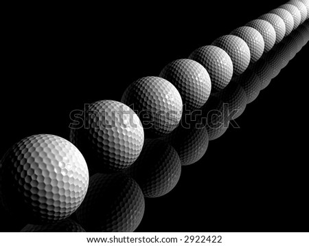 Many gold balls in a line - stock photo