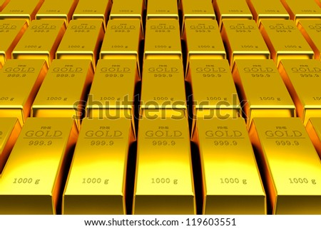 Many Gold bars background 3d - stock photo