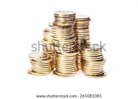 many gold coin isolated on white background - stock photo