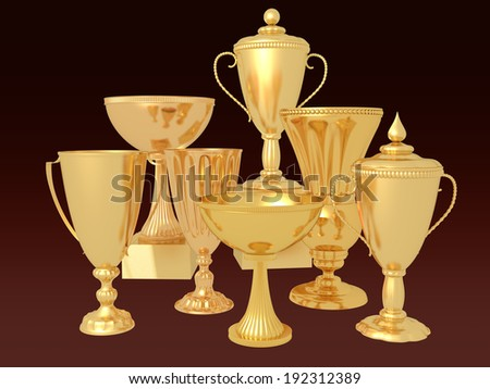 Many Golden cups - stock photo