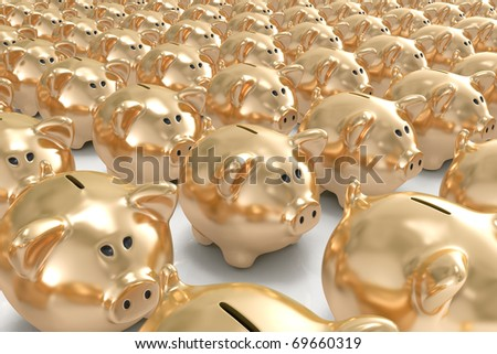 Many golden piggy banks - stock photo
