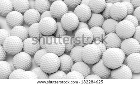Many golf balls together closeup isolated on white  - stock photo