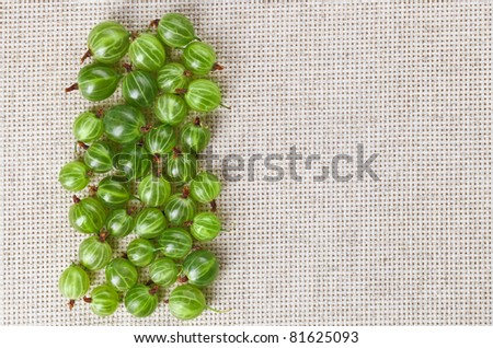 Many gooseberry fruits on gray linen table cloth with copy space, design ready - stock photo