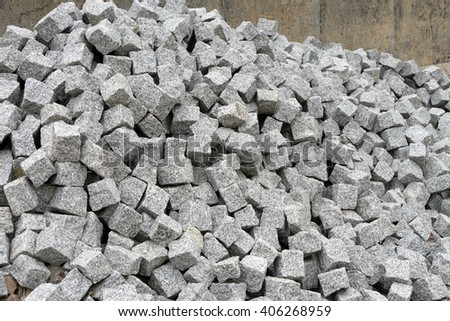 many granite stones on a pile / granite stones - stock photo