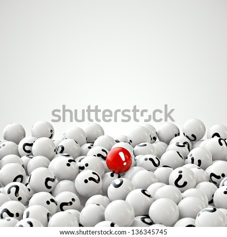 many gray balls with question marks, and one red - stock photo