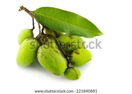 many Green Mango Isolated On A White Background