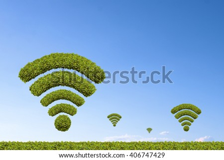 Many green wifi, made by green bushes shaped - stock photo