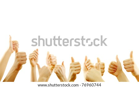 Many hand lifted up on white background - stock photo