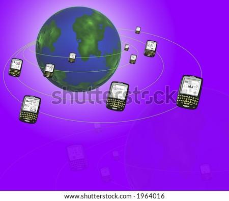 many handheld device orbitting the earth - stock photo