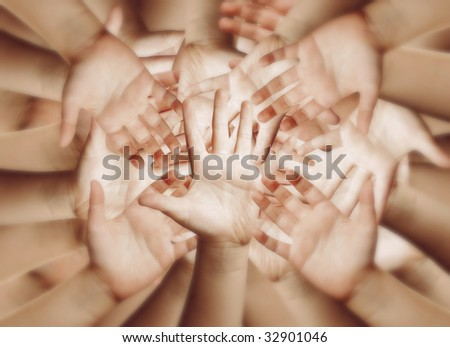 Many hands, abstract background - stock photo
