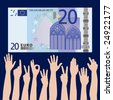 Many hands grab at a 20 euros banknote - stock vector